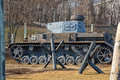 German tank since world war ii and anti tank in moscow on poklonnaya gora Stock Images
