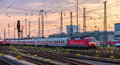 German trains in Frankfurt (Main) Hauptbahnhof station Royalty Free Stock Photo