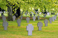 German war graveyard military cemetery at recogne bastogne belgium where the battle of the bulge took place during winter Royalty Free Stock Images