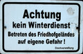 German warning sign no winter service in cemetery Stock Photo