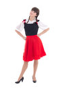 German woman in typical bavarian dress dirndl on white Royalty Free Stock Images