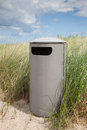 Germany, Baltic Sea, garbage bin in the dunes at beach Royalty Free Stock Photo