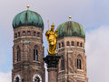 Germany bavaria munich marienplatz with st mary s column and church of our lady Royalty Free Stock Image