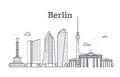 Germany berlin line vector landscape, city panoramic houses Royalty Free Stock Photo