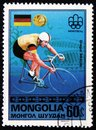 Germany bicycle rider Gregor Braun, from series `Olympic Games, Montreal - Gold Medal Winners`, circa 1976 Royalty Free Stock Photo