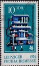 GERMANY, DDR - CIRCA 1974: a postage stamp from Germany, GDR showing a DC voltage test system for high voltages up to 2000 kV. Lei Royalty Free Stock Photo