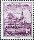 GERMANY, DDR - CIRCA 1955 : a postage stamp from Germany, GDR showing a drawing of the old town hall in Leipzig. Restored histori