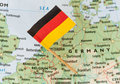 Germany flag on map paper pin a Stock Photography