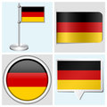 Germany flag set of sticker button label various and flagstaff Royalty Free Stock Image
