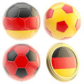 Germany football team attributes isolated set of four soccer ball on white Stock Photos
