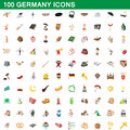 100 germany icons set, cartoon style