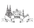 stock image of  Germany label. Travel German cities symbol. Famous german architectural landmarks.