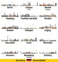 Germany largest cities skylines isolated icons vector illustration