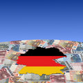 Germany map flag on euros Royalty Free Stock Photo