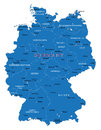 Germany map highly detailed vector of with administrative regions main cities and roads Royalty Free Stock Photo