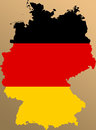 Germany map of with the projected german flag Stock Photo