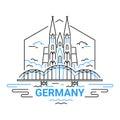 Germany - modern vector line travel illustration