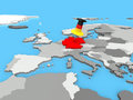 Germany pinned to map of europe the with a huge push pin coloured as the german flag Royalty Free Stock Photo