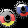Germany russia relations d gears flags Royalty Free Stock Images
