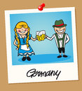 Germany travel polaroid people german man and woman cartoon couple in vintage instant photo frame vector illustration layered for Stock Photography