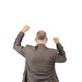 Geschäftsmann with arms raised das sieg feiert Stockfotografie