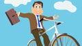 Geschäftsmann joyfully rides bike Lizenzfreie Stockbilder