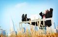 Geschäftsmann relaxation freedom happiness flucht konzept Lizenzfreie Stockbilder