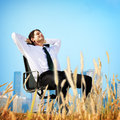 Geschäftsmann relaxation freedom happiness flucht konzept Lizenzfreies Stockfoto