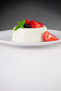 Geschmackvoller panna cotta dessert Stockfotos