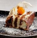 Geschmackvoller Schokoladenkuchen mit fhysalis Stockfotos