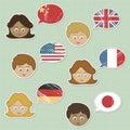 Gesichter und Markierungsfahnenaufkleber Lizenzfreies Stockfoto