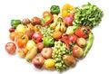 Geïsoleerdee groenten & vruchten Stock Afbeelding