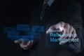 Gestión de la relación de show business de la mano del hombre de negocios Imagenes de archivo