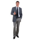 Gesture all is well nice businessman in a suit shows his hand isolated on white background Royalty Free Stock Photo