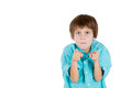 Gesture of criticism by a cute kid closeup portrait adorable serious pointing at you or camera isolated on white background with Stock Photos