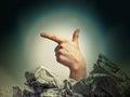 Gesture handgun fingers of the hand depicting a gun Royalty Free Stock Image