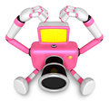 Gesture of love is Pink Camera Character Sit on the floor. Creat Royalty Free Stock Images