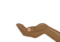 Gesture open palm. Black women Hand gives or receives. Vector il