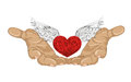 Gesture open palm. Hand gives heart with wings. St. Valentine`s