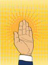 Gesture open palm. Hand gives or receives. Retro style pop art.