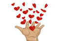 Gesture open palms. From stacked hands fly red heart. Vector
