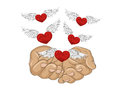 Gesture open palms. From stacked hands fly red heart with wings.