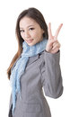 Gesture of peace asian business woman showing a closeup portrait isolated on the white background Stock Photography