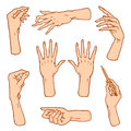 Gestures arms stop, palm, thumbs up, finger pointer, ok, like and pray or handshake, fist and peace or rock n roll