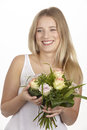She get a bouquet of flowers (roses) for her birthday Royalty Free Stock Photo