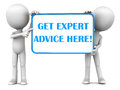 Get expert advice here banner held up two little d men white background Royalty Free Stock Photos