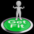 Get fit button shows exercise and working out showing Royalty Free Stock Image