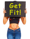 Get Fit Sign Showing Exercise For Stock Image