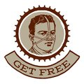 Get free retro style emblem that reads and has an illustration of a tied man on it it can be used as a card poster t shirt or Royalty Free Stock Photo