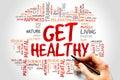 Get healthy word cloud health concept Stock Image